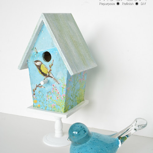 Dollar Store Birdhouse Decoupaged With Napkins