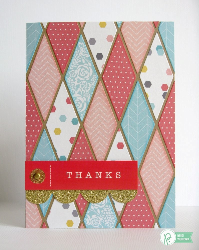 Pebbles Inc. Home+made Die-cut Diamond Thank You Card by Mendi Yoshikawa