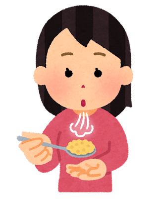 熱いご飯を冷ます人のイラスト(女性)