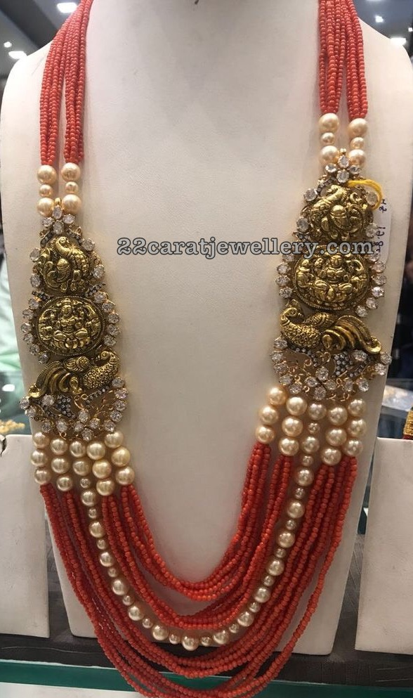 Red Coral Beads with Traditional Motifs