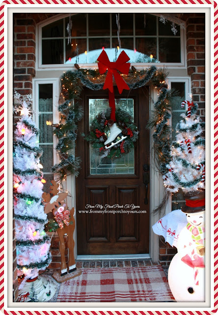 Vintage Inspired-Ice Skate Wreath-Big Red Bow-Christmas Front Porch-From My Front Porch To Yours