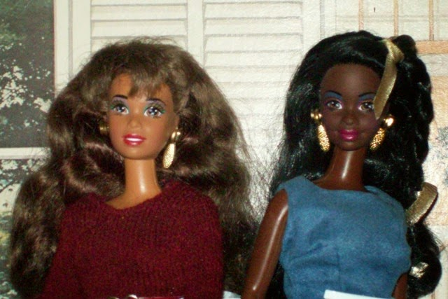 Redressed Asha and Nichelle from Mattel's Shani line