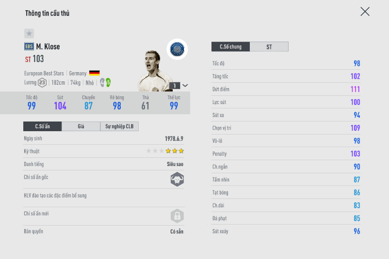 FIFA ONLINE 4   Tổng hợp những chân sút có tỷ lệ ghi bàn cao nhất mùa thẻ EBS