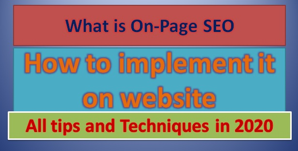 how to do ON-PAGE SEO-techniques