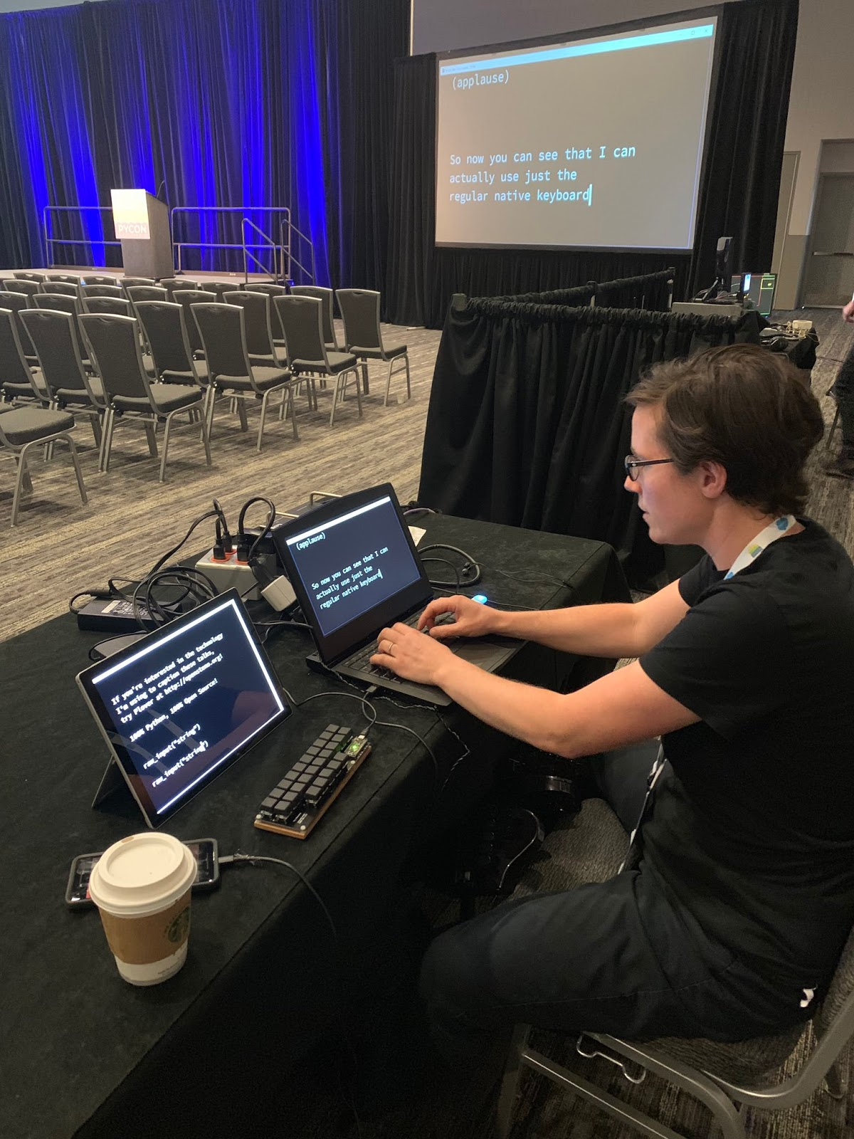 me demonstrating Plover at a table in a big conference room