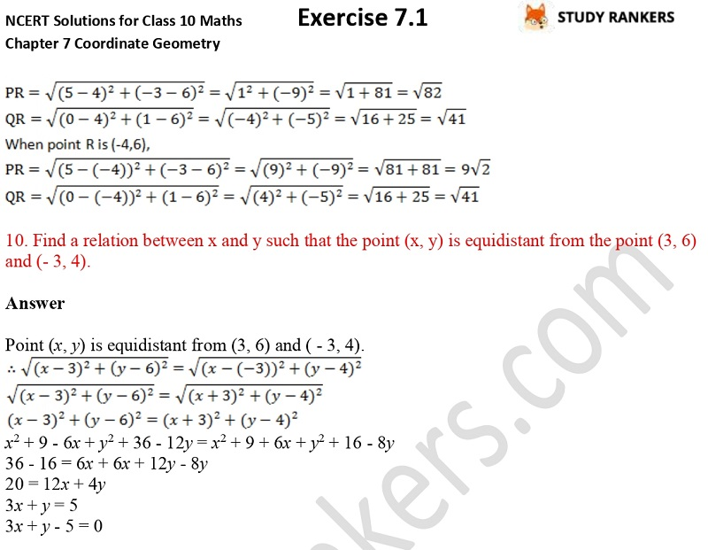 NCERT Solutions for Class 10 Maths Chapter 7 Coordinate Geometry Exercise 7.1 Part 6
