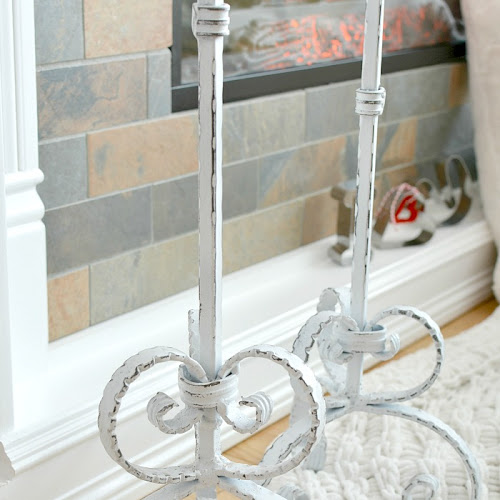 Upcycled Shabby Chic Tall Wrought Iron Candle Holders