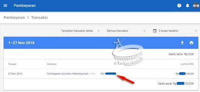 informasi: pembayaran telah dilakukan, klik kode nomor pembayaran