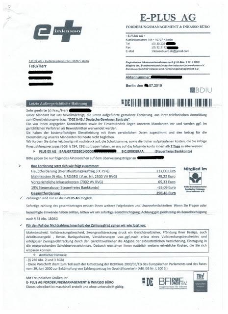 Scan: Mahnung E-Plus AG, Berlin / Seite 01 /  Juli 2019