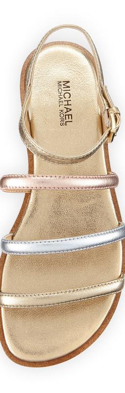 MICHAEL Michael Kors Nantucket Strappy Flat Sandal, Gold