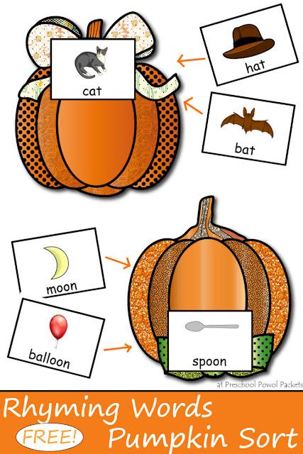 pumpkin rhymes preschool free pumpkin sorting rhyming words preschool 206
