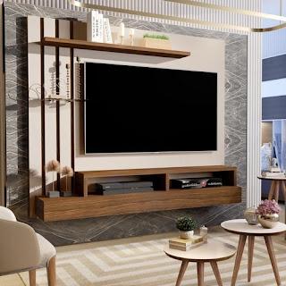 Painel Para Tv Até 48 Polegadas Classic Off White Com Freijó - Maria Móveis