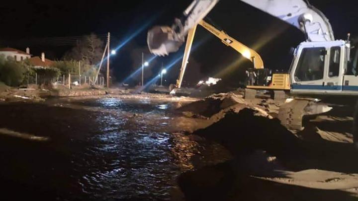 Θάσος: Δύσκολη νύχτα για τους κατοίκους λόγω της καταρρακτώδους βροχής