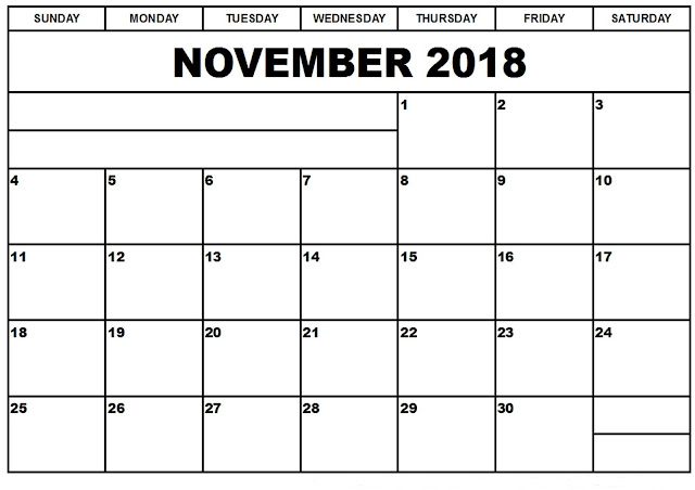 november 2018 PDF calendar