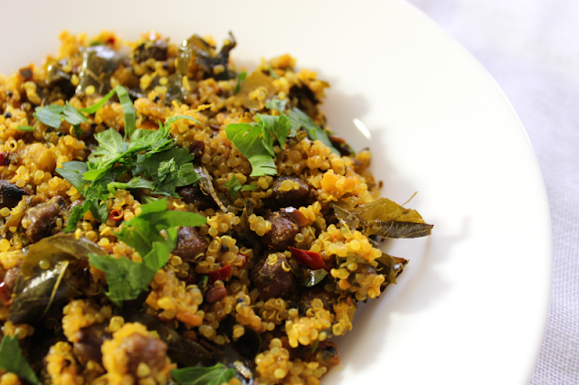 Lemony Quinoa with Black Chickpeas