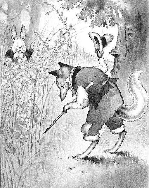 a Harrison Cady children's illustration of a worried rabbit meeting a sinister fox