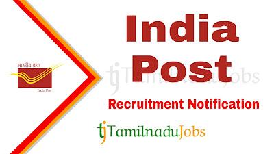 India Post Tamilnadu Circle Recruitment Notification 2020, Central govt jobs, govt jobs for 10th pass,