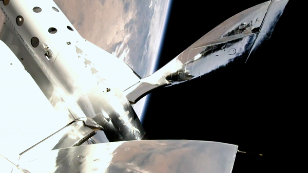 VSS Unity soars 53.5 miles (86 kilometers) above the Earth during the Unity 22 flight...on July 11, 2021.