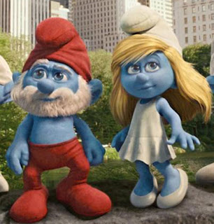 two smurfs in New York City The Smurfs 2011 animatedfilmreviews.filminspector.com
