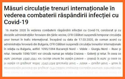 cfr calatori modifica mersul trenurilor din cauza coronaviruslui