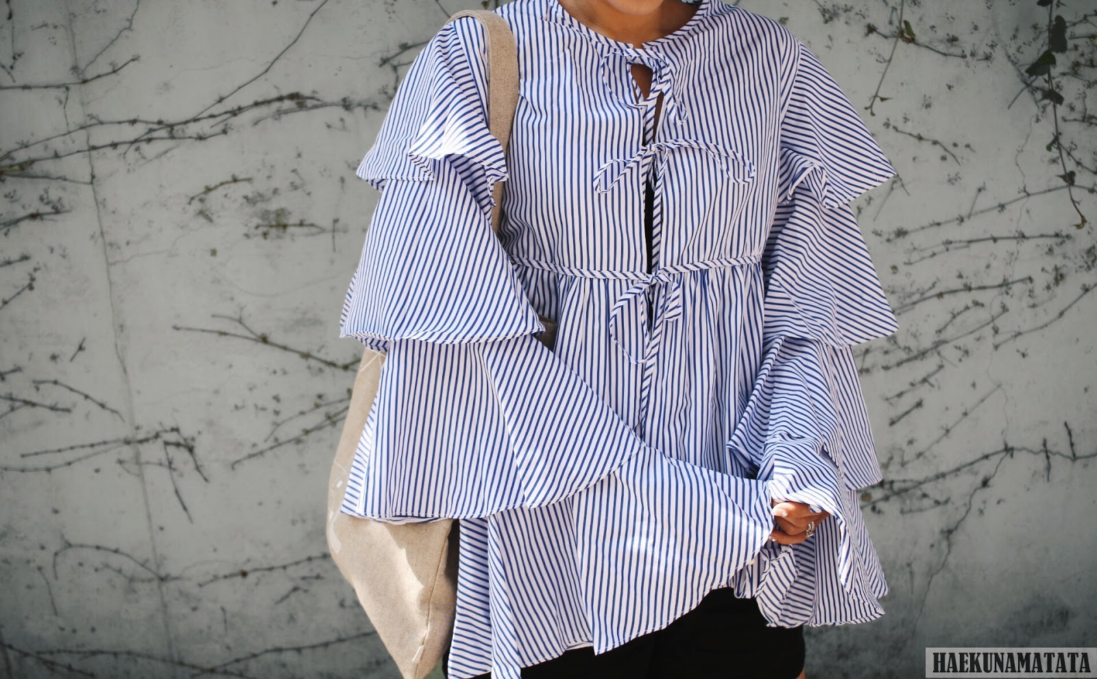 Shein Striped and Tiered Ruffles Blogger Style OOTD