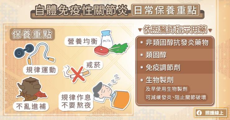 發炎性關節炎治療、日常保養重點