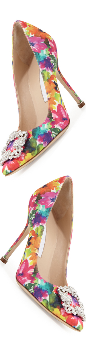Manolo Blahnik Hangisi Floral-Print 105mm Pump, Multicolor
