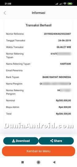 Contoh bukti resi transaksi di BNI Mobile banking