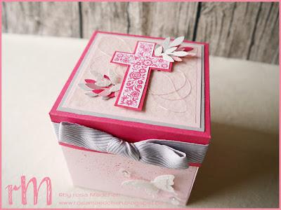 Stampin' Up! rosa Mädchen Kulmbach: Stamp A(r)ttack Blog Hop (7 auf einen Streich): kirchliche Feste Explosionsbox mit Schmetterlingen aus Transparentpapier, Designerpapier, Zweigen aus der Vogelstanze und Kreuz aus Gesegnet