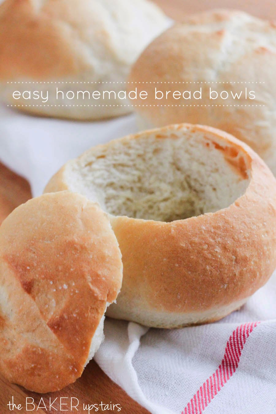 Easy homemade bread bowls from The Baker Upstairs. These delicious bread bowls are perfect for soups and dips, and are ready in about an hour!