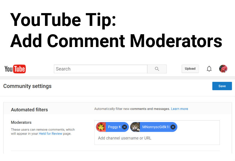 How to add Comment Moderators to your YouTube Channel