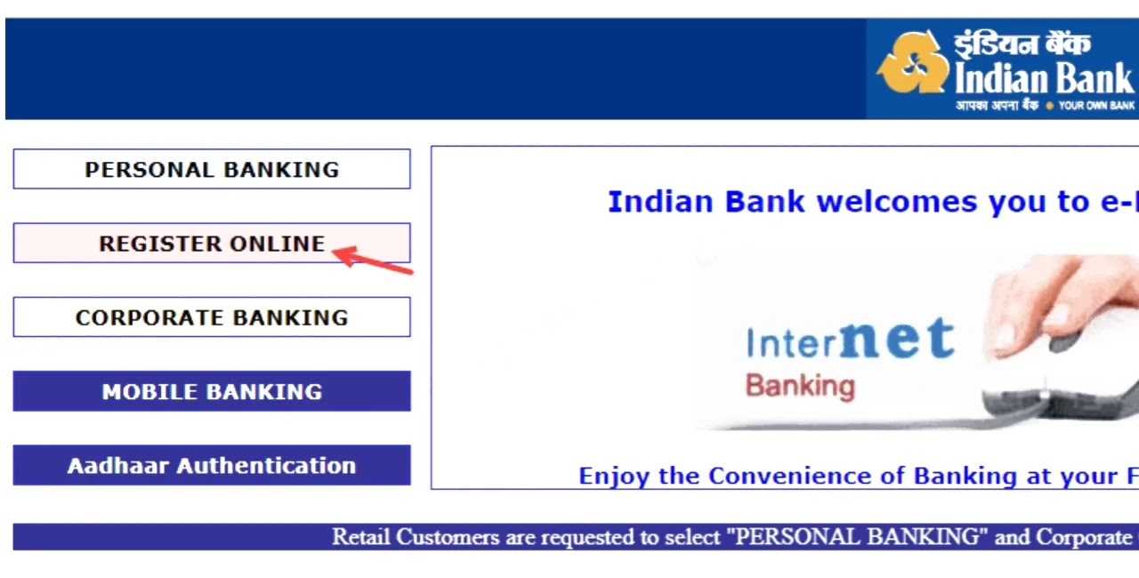 Indian Bank Net Banking Service Activation