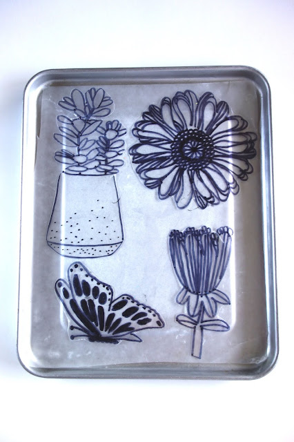 Shrinky Dinks tutorial, crafting with Shrinky Dinks, blah to TADA, handmade pins, DIY pins, Sharpie crafts, shrinking plastic crafts, toaster crafts, acrylic paint, bar pins, flowers, butterfly