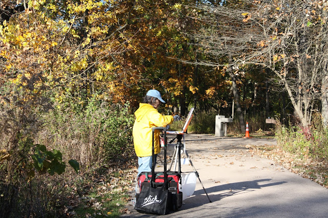 Creating art in plein air during the fall at Crabtree Nature Center in Barrington, IL.