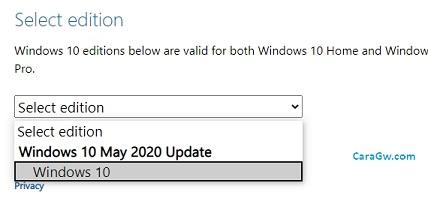 Pilih Windows 10 May 2020 Update ISO