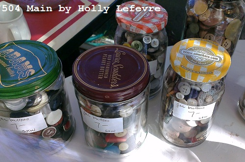 jars of vintage buttons