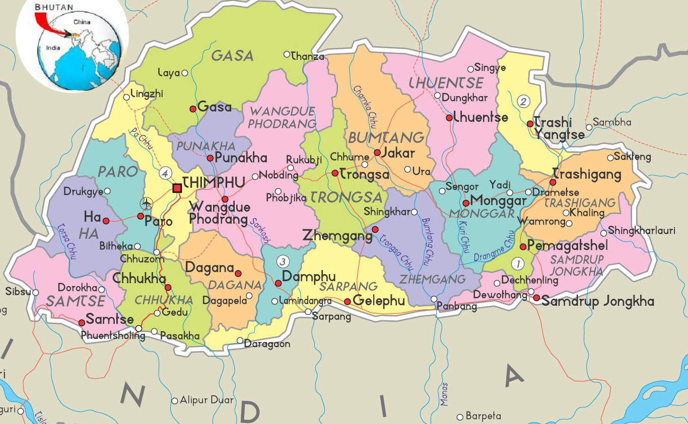 Kingdom Of Bhutan Map HD World Maps - Bhutan map