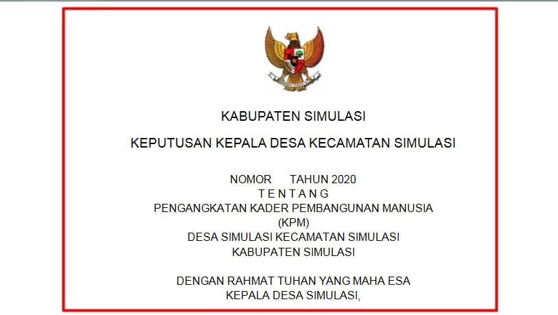 Download Contoh SK KPM Desa Terbaru