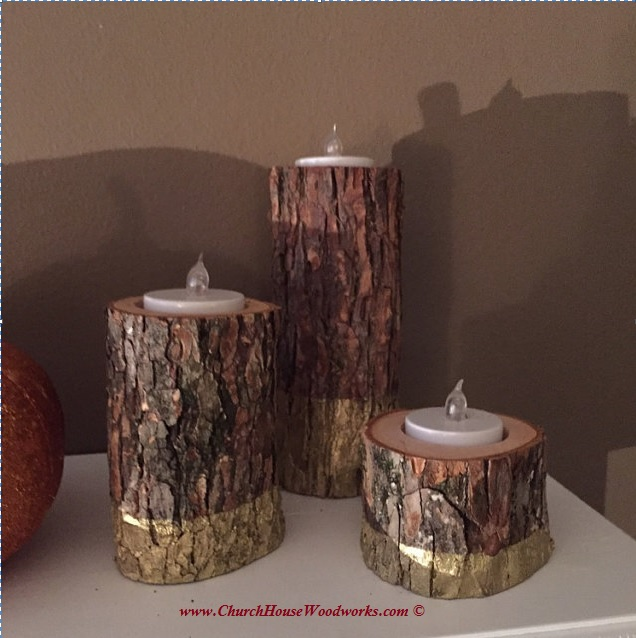 Table setting with Tree Branch Candle Holders for weddings, events, decor, cabins, outdoors, farm, woodland