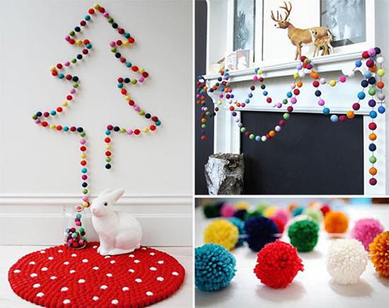 pompom, fio de pompom, árvore de Natal, enfeite Natal, enfeite, a casa eh sua, acasaehsua, faça você mesmo, diy,