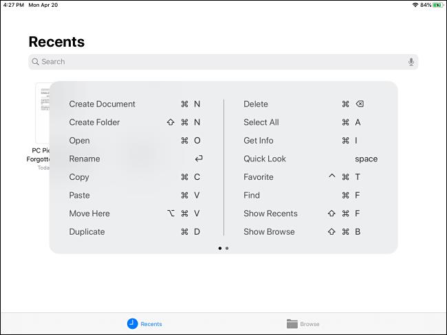 اختصار لوحة مفاتيح أمر الملفات المنبثقة على iPad