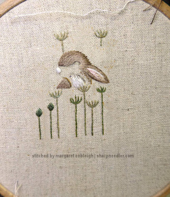 Embroidery progressing on hare from Jenny McWhinney's Queen Anne's Lace