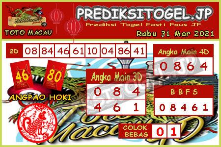 Prediksi Togel Toto Macau JP Rabu 31 Maret 2021