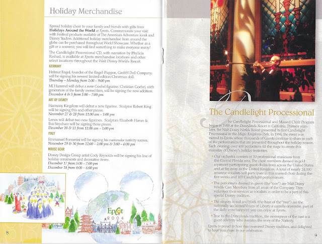 Epcot Holidays Around the World Guide Candlelight Processional 2004