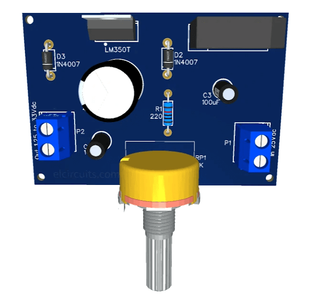 Adjustable Power Supply 1.25v to 33V, 3 Amps with LM350 + PCB