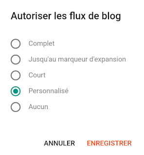 Autoriser le flux de blog