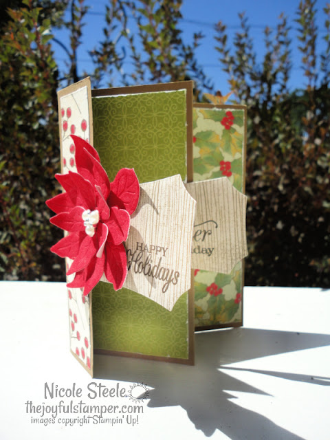 tri-fold accordion card, christmas card, poinsettia petals, poinsettia place suite, stampin' up!, holiday cards, fun fold card ideas, velvet paper, nicole steele, independent stampin' up! demonstrator, pittsburgh pa, the joyful stamper