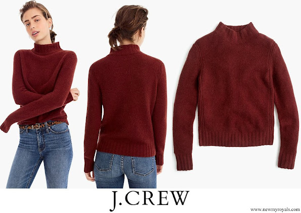 Kate Middleton wore J Crew Mockneck Sweater in mahogany