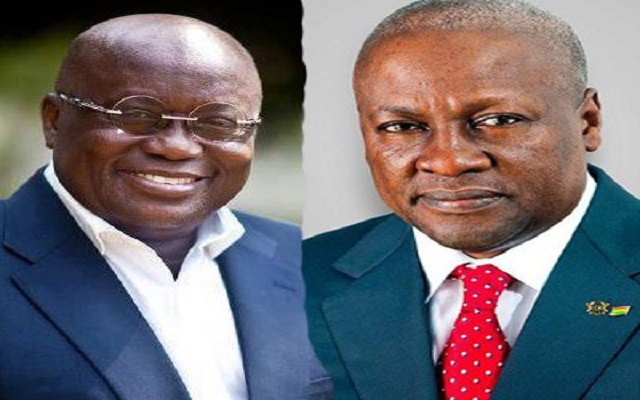President Nana Akufo-Addo (Left) And Ex-President John Mahama (Right)