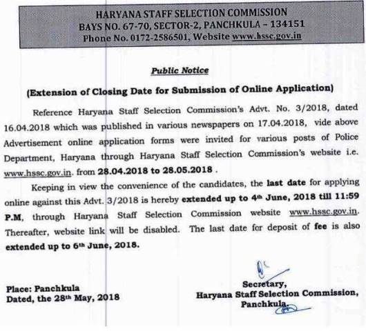 Haryana Police Recruitment 2018 | Last Date extended - Check Now